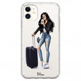 Woman Black Haired With Baggage iPhone 11 Tok