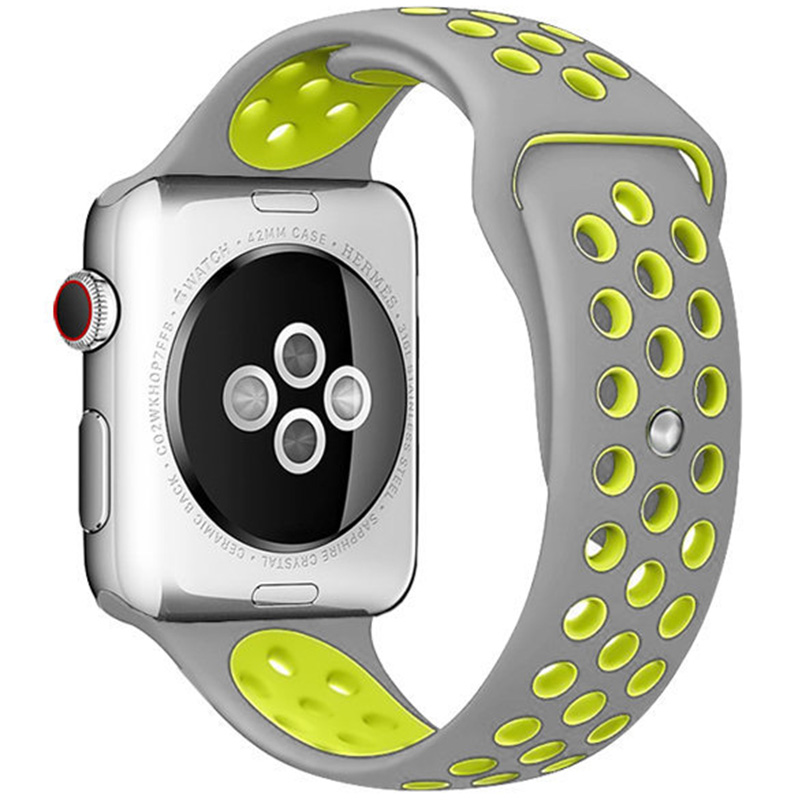 Sport Szíj Apple Watch 42/44mm Silver/Yellow Large