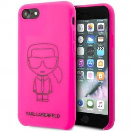 Karl Lagerfeld Silicone Black Out Pink iPhone 8/7/SE 2 2020 Tok