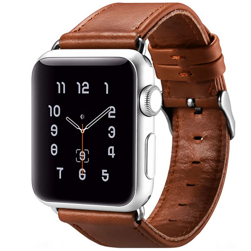 iCarer Vintage Real Cow Leather Szíj Apple Watch 38/40mm Light Brown