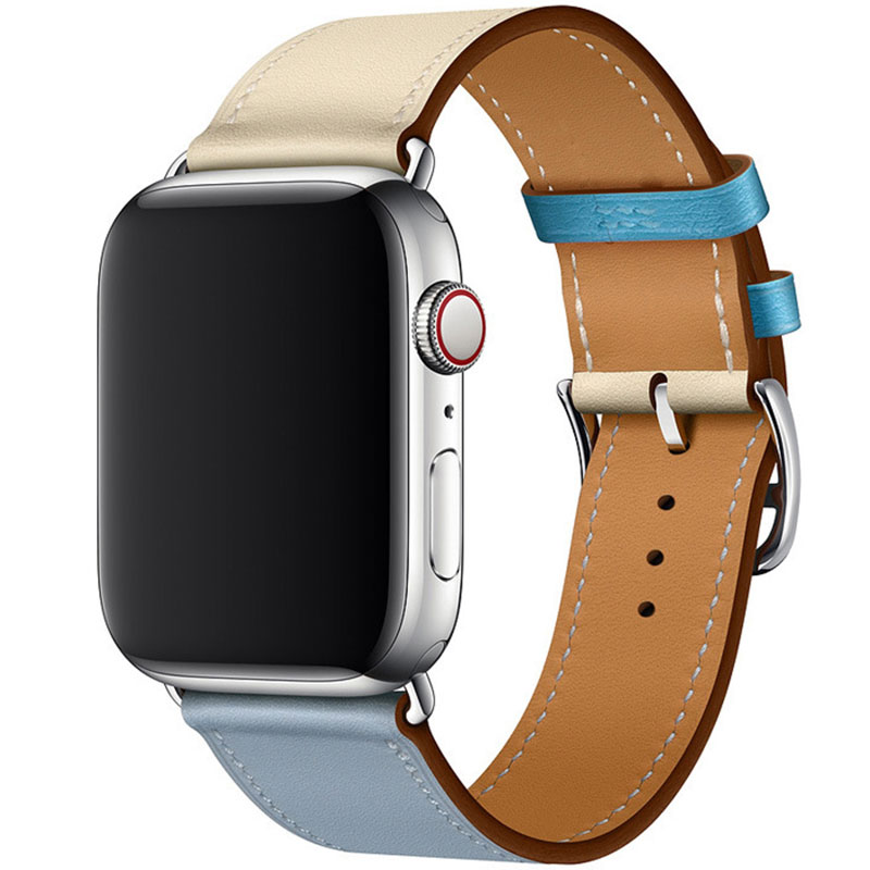 Leather Strap Apple Watch 42/44mm Blue Lin Craie