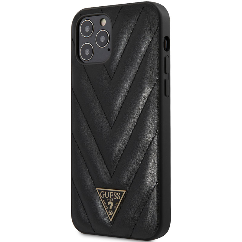 Guess V Quilted Black iPhone 12/12 Pro Tok