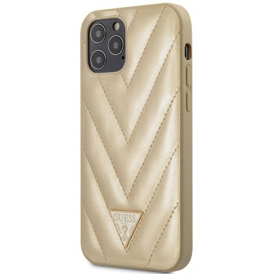 Guess V Quilted Gold iPhone 12/12 Pro Tok
