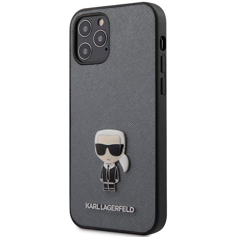 Karl Lagerfeld Saffiano Iconic Silver iPhone 12/12 Pro Tok